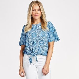 Evereve • Embry blue tie front top